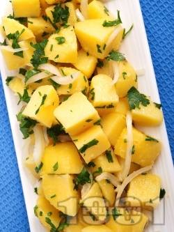 Бърза и лесна обикновена картофена салата с масло, лук и магданоз - снимка на рецептата